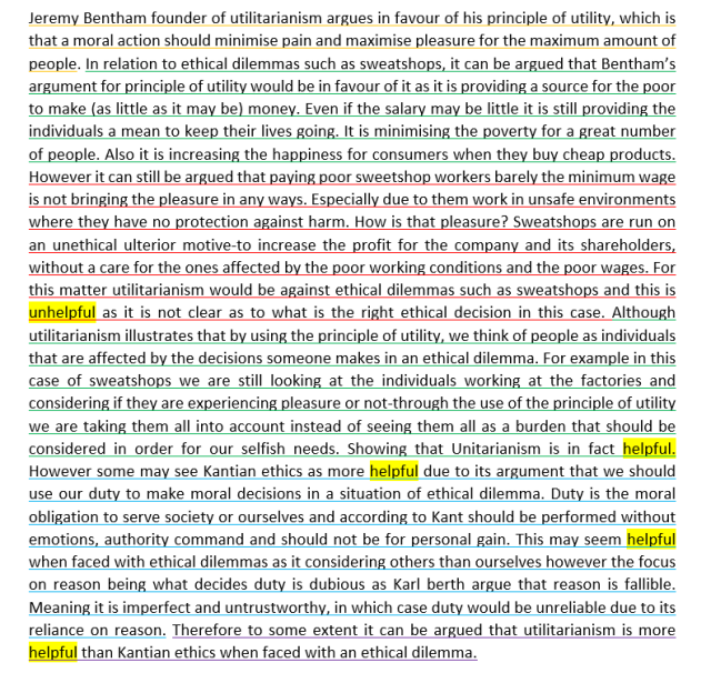 utilitarianism is more useful than kantian ethics when dealing  this is another example of a very sophisticated paragraph comparing utilitarianism kant whilst applying to business ethics