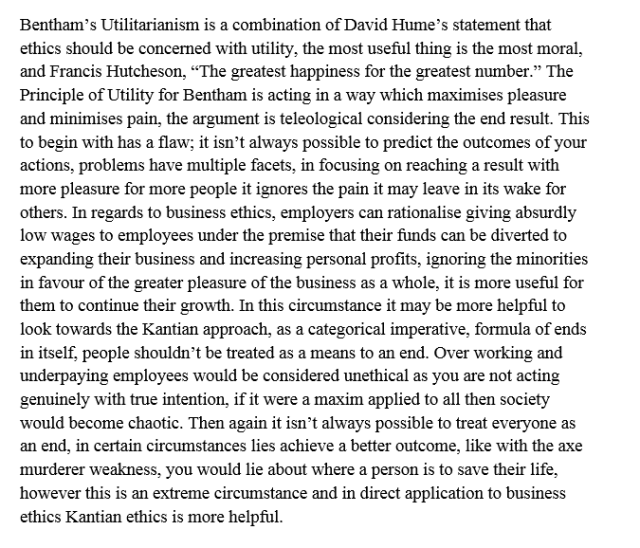 Utilitarianism Is More Useful Than Kantian Ethics When Dealing With